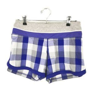 Lululemon purple plaid groovy run short sz 4